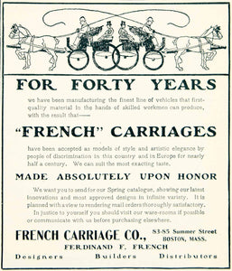 1902 Ad Ferdinand F French Carriage 8385 Summer St Boston MA Horse YLF1