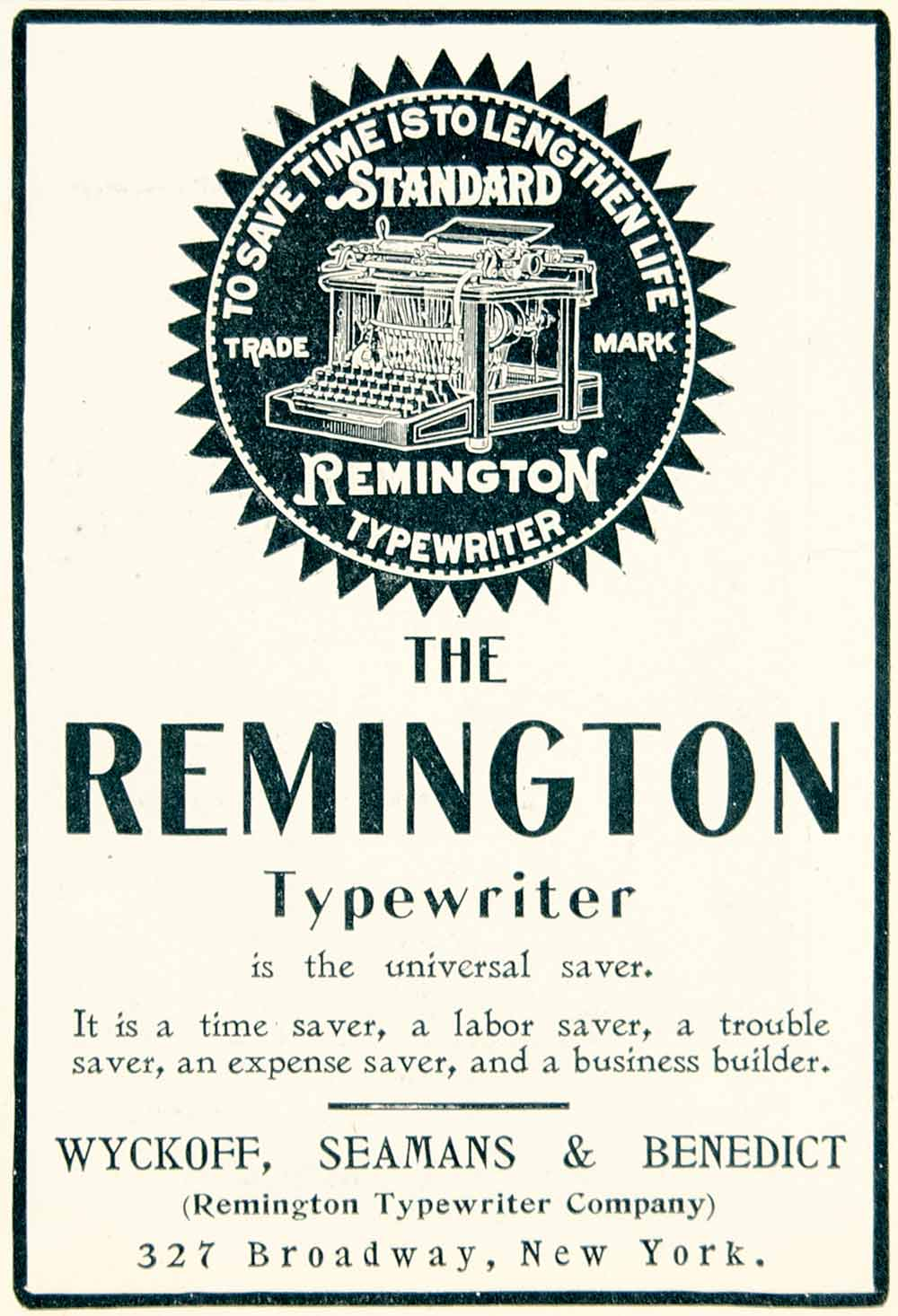 1902 Ad Remington Typewriter Wyckoff Seamans Benedict 327 Broadway NYC YLF1