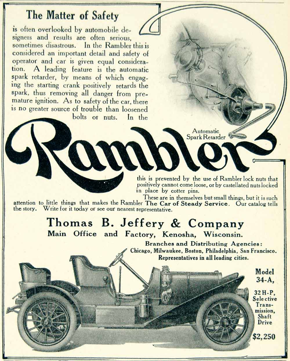 1908 Ad Vintage Rambler Model 34-A Automatic Spark Retarder Safety Feature YLF2