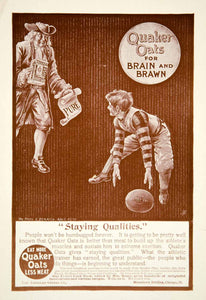 1900 Ad American Cereal Quaker Oats Breakfast Food Child Football Sports YLF3