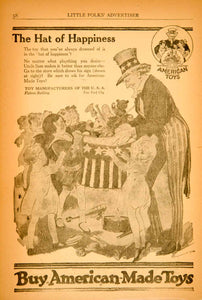 1920 Ad Hat Happiness Buy American Toys Children Uncle Sam Political YLF3