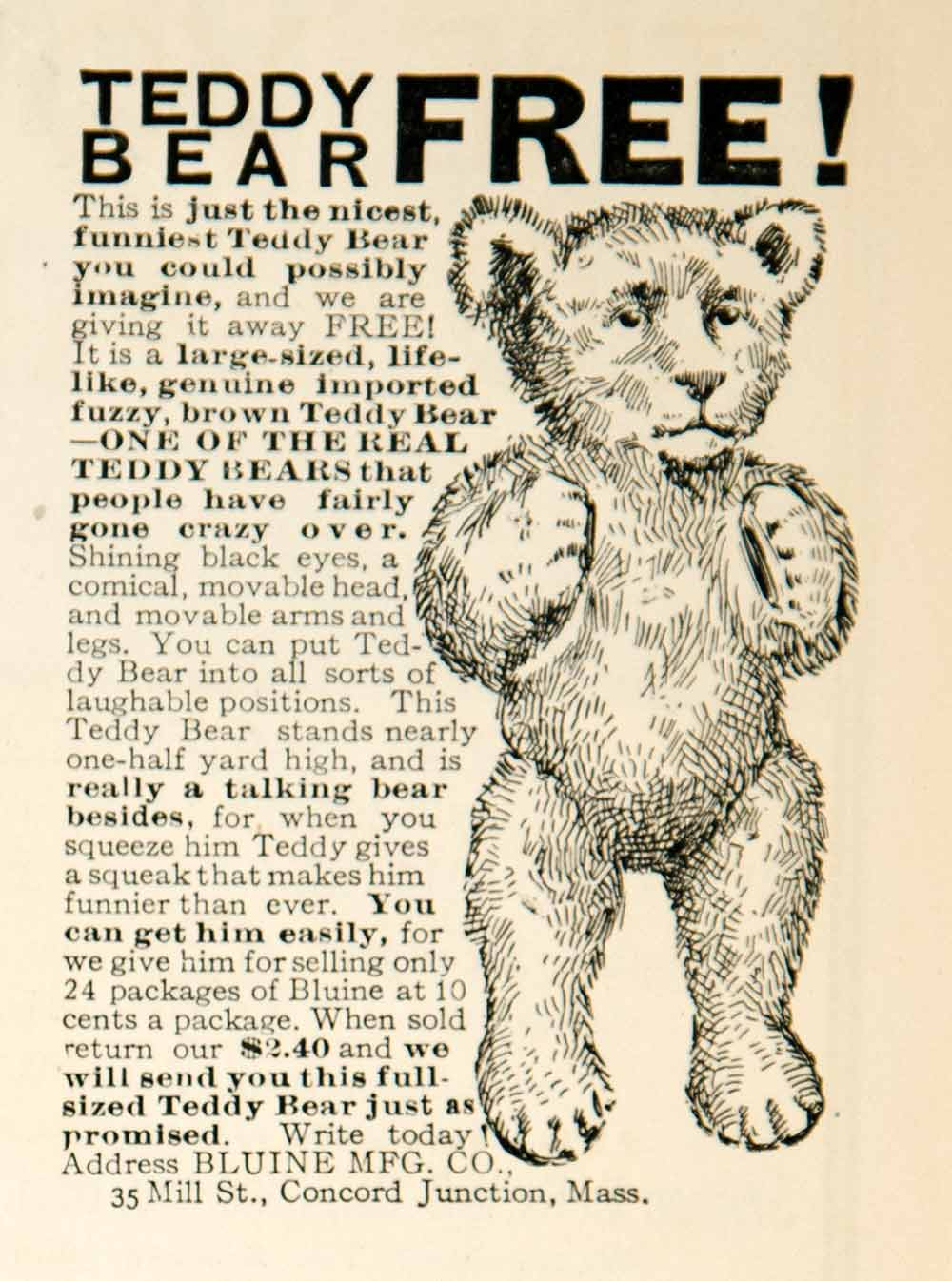 1907 Ad Bluine Teddy Bear Stuffed Animal Childrens Toys Edwardian Era Kids YLF3