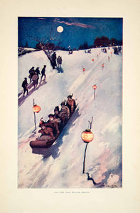 1904 Color Print Hiram Putnam Barnes Art Children Snow Sledding Hill Winter YLF3