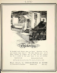 1909 Ad Chickering & Sons Grand Piano Musical Instrument Edwardian Era YLF4
