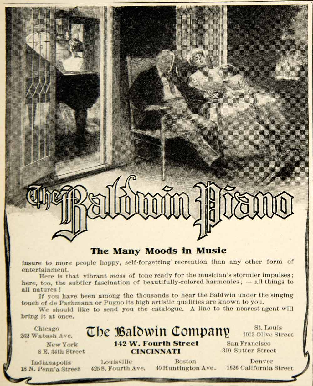 1909 Ad Baldwin Grand Piano Musical Instrument Edwardian Era Household Home YLF4