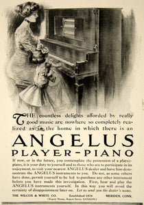 1909 Ad Wilcox & White Angelus Player Piano Musical Instrument Edwardian YLF4