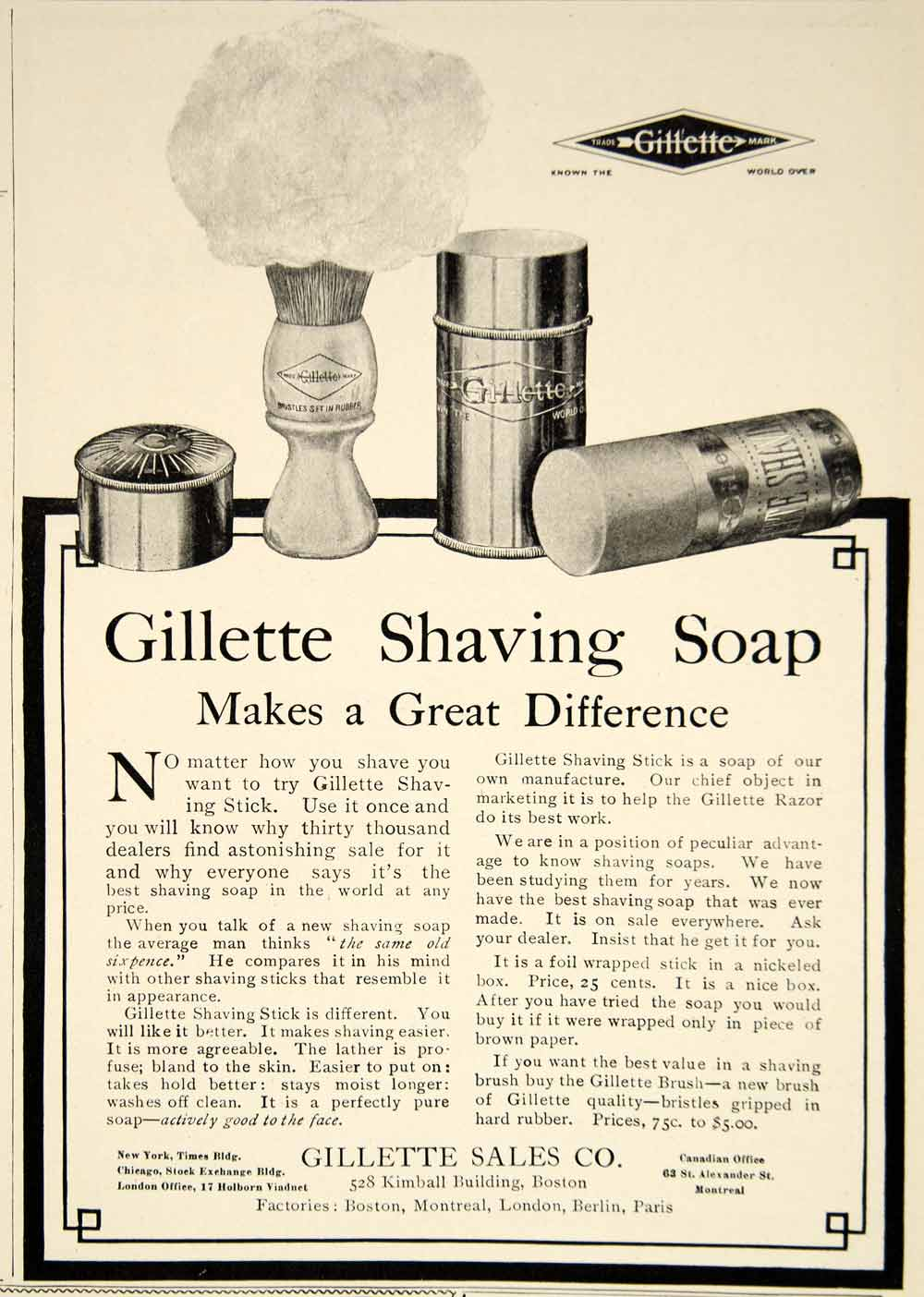 1909 Ad Gillette Shaving Stick Soap Health Beauty Edwardian Era Hygiene YLF4