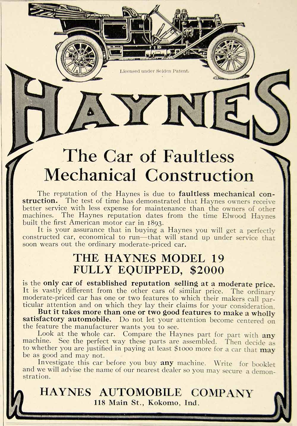 1910 Ad Haynes Model 19 Automobile Brass Era Car Edwardian Transportation YLF5