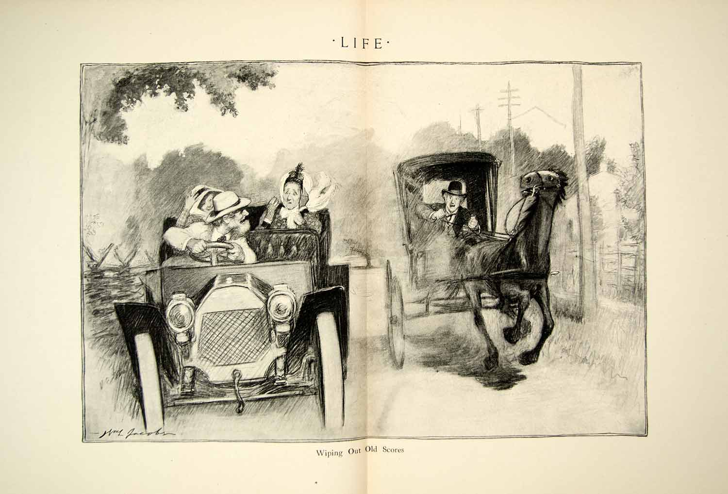 1910 Print WL Jacobs Art Wiping Out Old Scores Brass Era Car Horse Auto YLF5