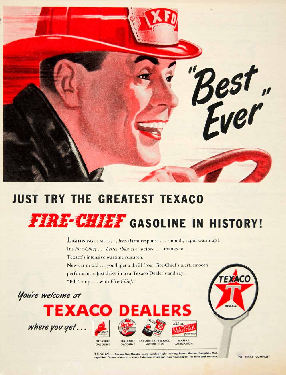 1946 Ad Texaco Fire-Chief Gasoline Fuel Petrol Oil Firefighter Garage Car  YLK1
