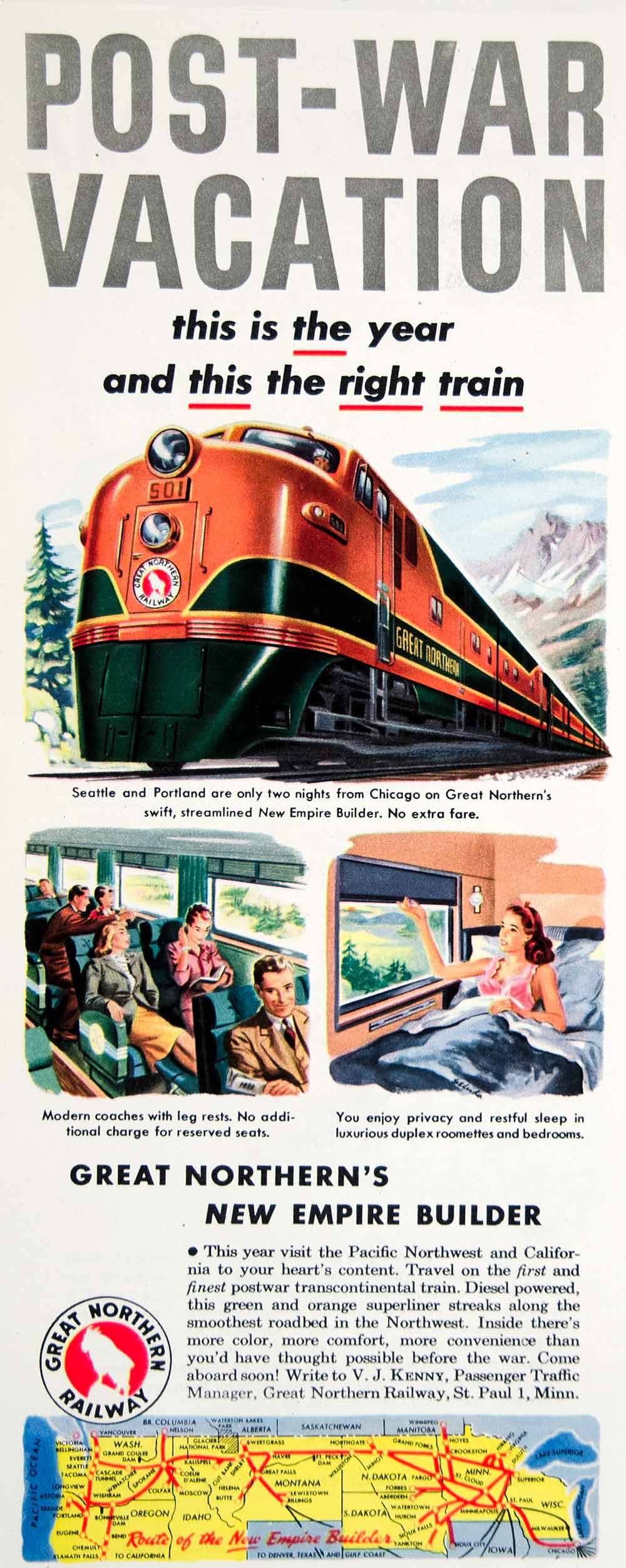 1947 Ad Great Northern Railway New Empire Builder Diesel Trains Locomotive YLK1