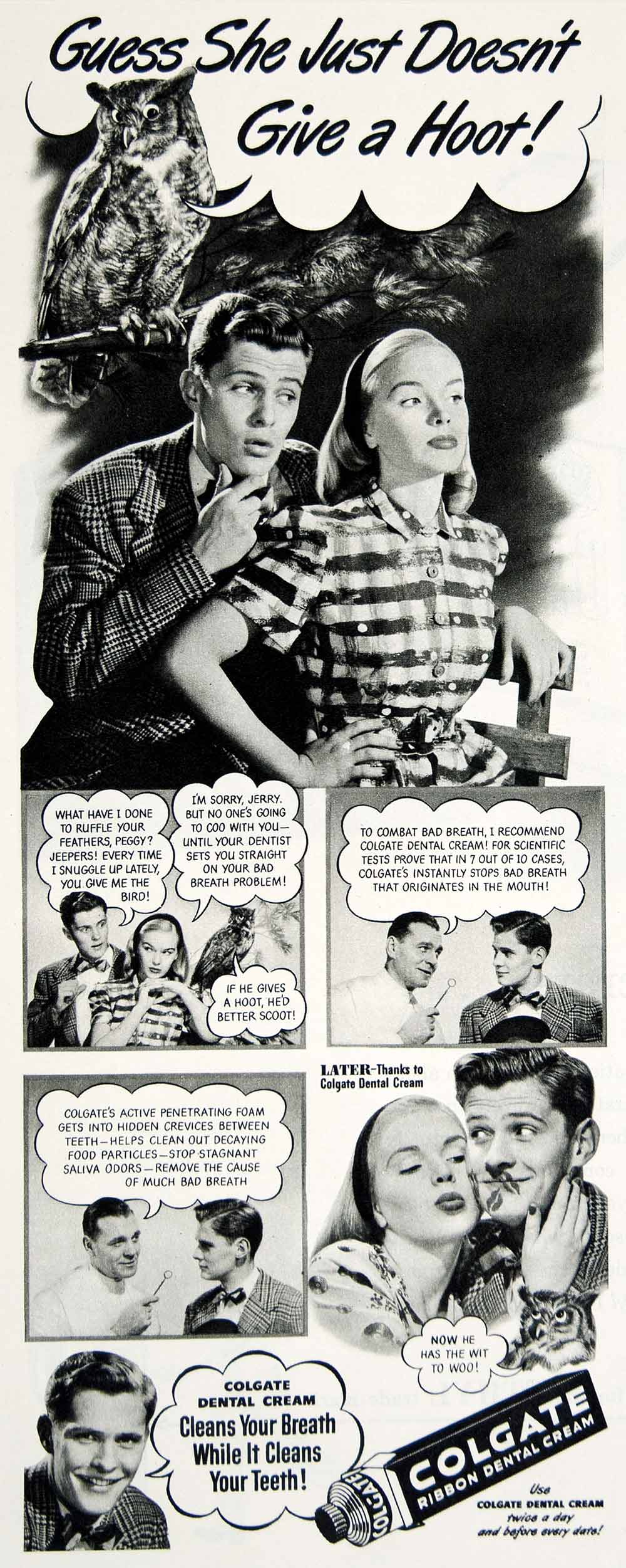 1947 Ad Colgate Ribbon Dental Cream Toothpaste Jerry Peggy Teen Romance YLK1