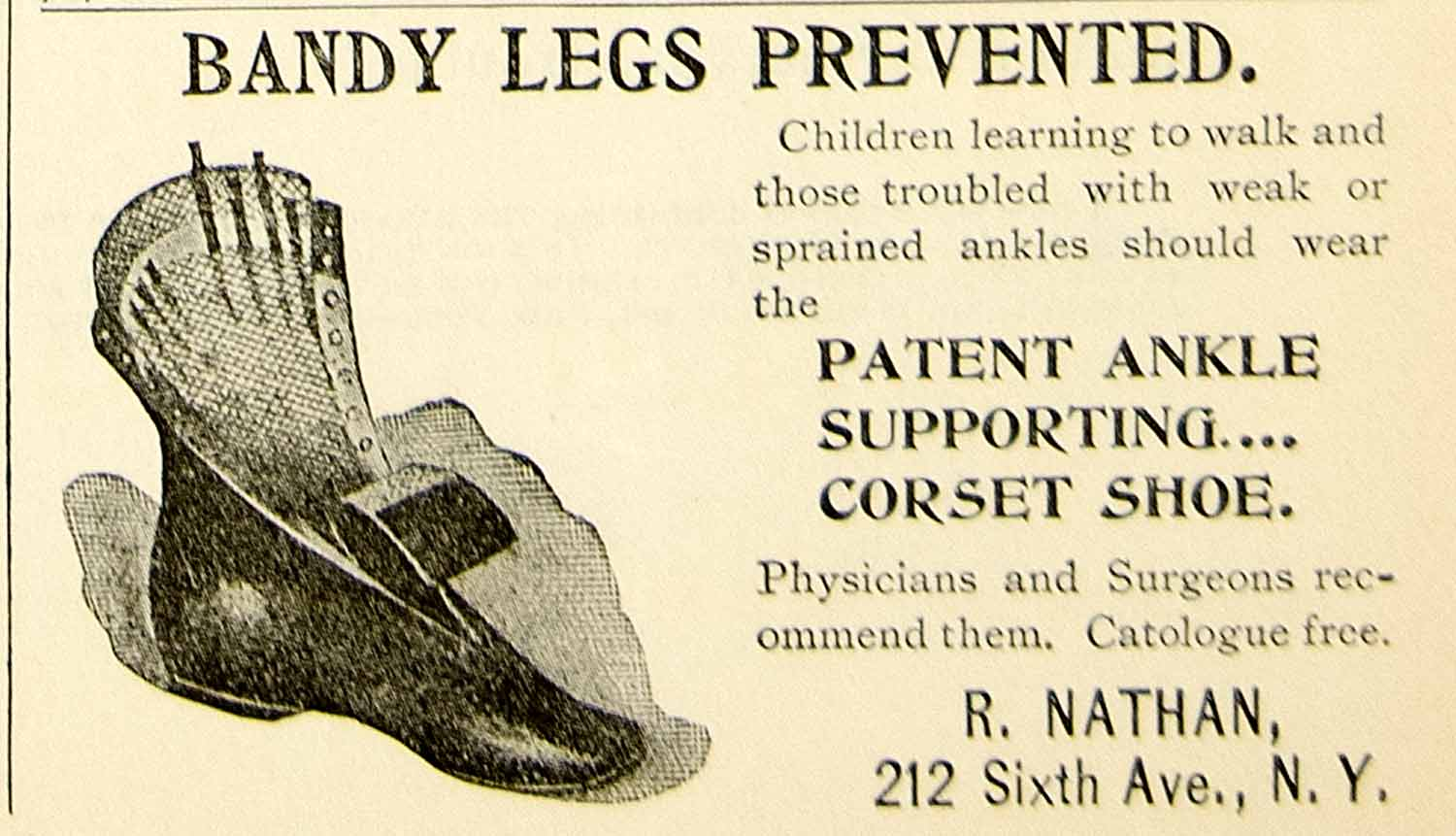 1897 Ad Bandy Legs Ankle Support Corset Shoe Nathan 212 Sixth Avenue New YLM1