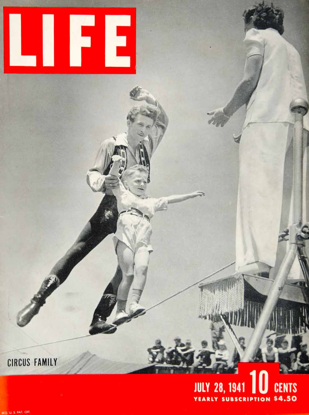 1941 Cover LIFE Magazine Hubert Castle Circus Tightrope Wire Walker Family YLMC1
