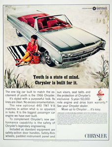 1966 Ad Vintage Chrysler 440 TNT Convertible Car Gray Red Interior 2-Door YLZ1