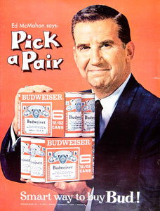 1966 Ad Vintage Budweiser Beer Six Pack Bud Can Ed McMahon The Tonight Show YLZ1