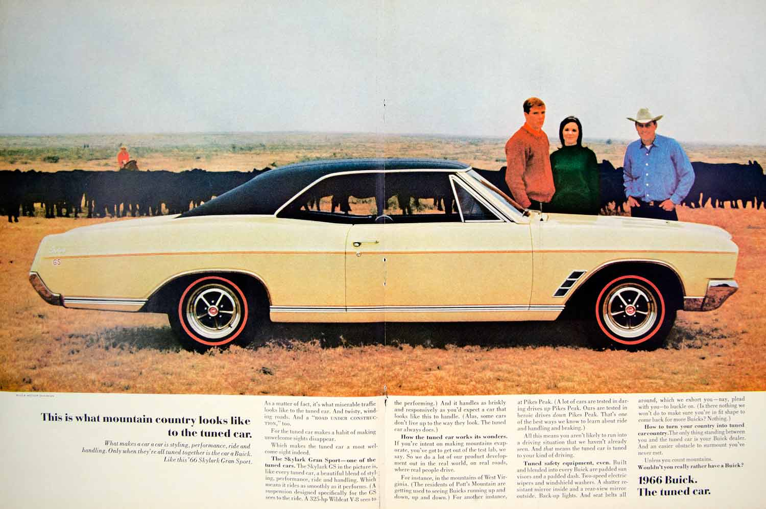 1966 Ad Buick Skylark Gran Sport Coupe Yellow Muscle Car Classic ...