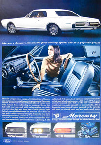 1966 Ad Vintage '67 Ford Mercury Cougar White Sports Car Classic Automobile YLZ2