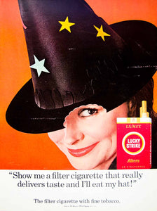 1966 Ad Vintage Lucky Strike Filter Cigarettes Halloween Witch Hat Costume YLZ2