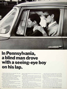 1966 Ad Better Vision Institute Public Service Blind Man Driving Eye Exam YLZ2