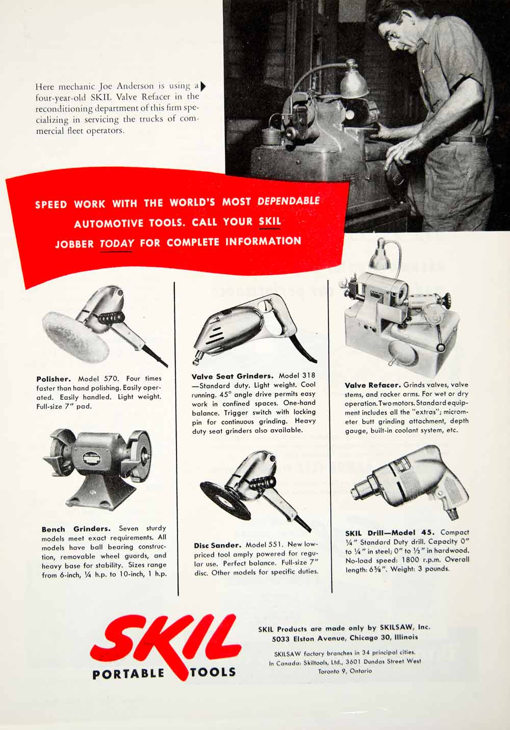 Fabulous 1952 Ad Skil Power Tools Polisher Sander Drill Grinder Valve Refacer Yma1 Andrewgaddart Wooden Chair Designs For Living Room Andrewgaddartcom
