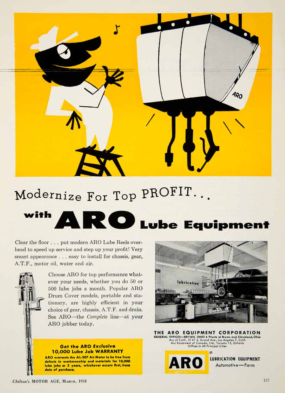 1958 Ad Aro Lube Automotive Bryan Motor Oil Yellow 3141 South Grand Avenue YMA1