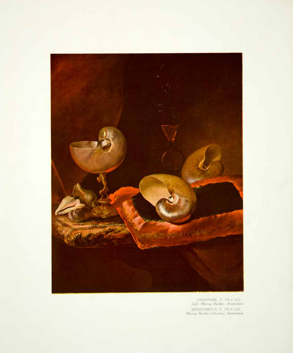 1933 Color Print Still Life Art Seashell Wine Goblet Drinking Glass Cup YMF2