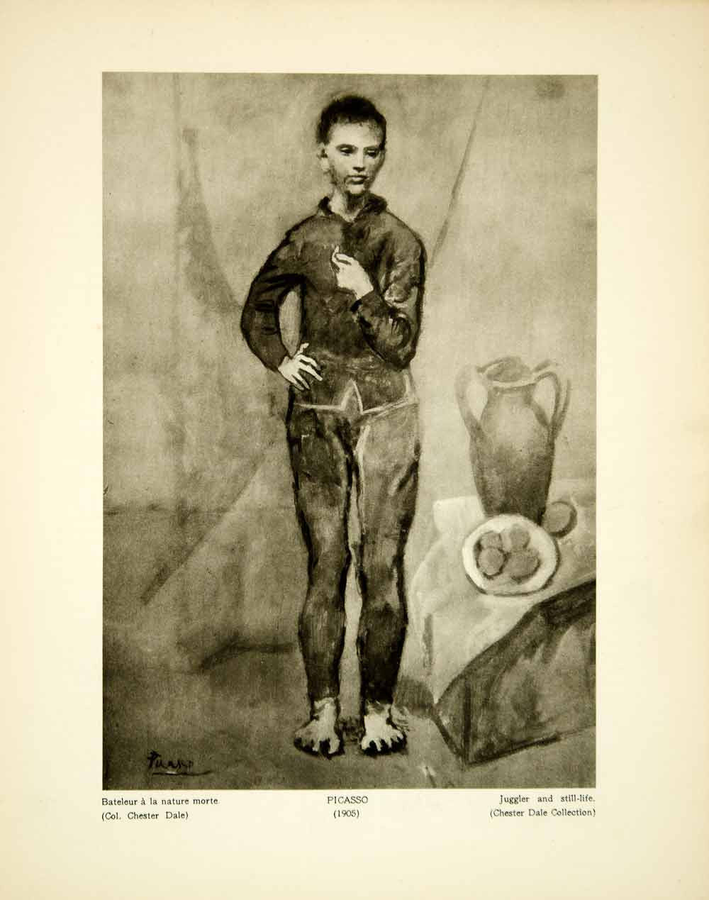 1931 Photogravure Pablo Picasso Art Juggler With Still Life Portrait Circus YMF2 - Period Paper