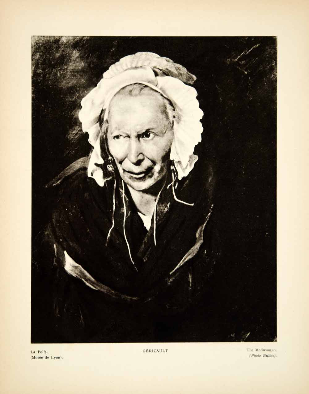 1931 Photogravure Theodore Gericault Art Insane Woman Portrait Romanticism YMF2