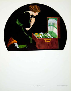 1912 Photolithograph Coles Phillips Fadeaway Girl Silver Flatware Set Box YMF3