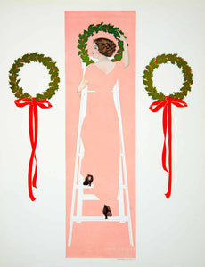 1912 Photolithograph Coles Phillips Fadeaway Girl Hanging Christmas Wreath YMF3