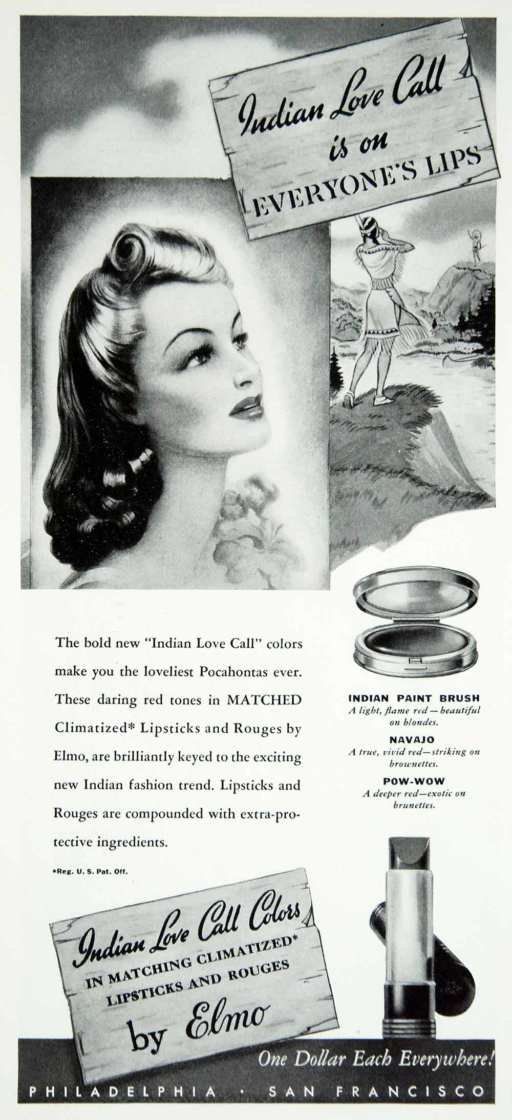 1940 Ad Indian Love Call Elmo Lipstick Forties Makeup Pocahontas Hairstyle YMM1