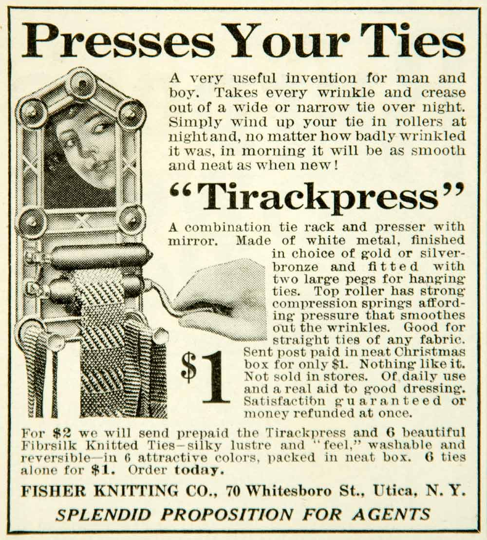 1915 Ad Tirackpress Tie Press Rack Mirror Male Accessory Roller Fisher YMM2