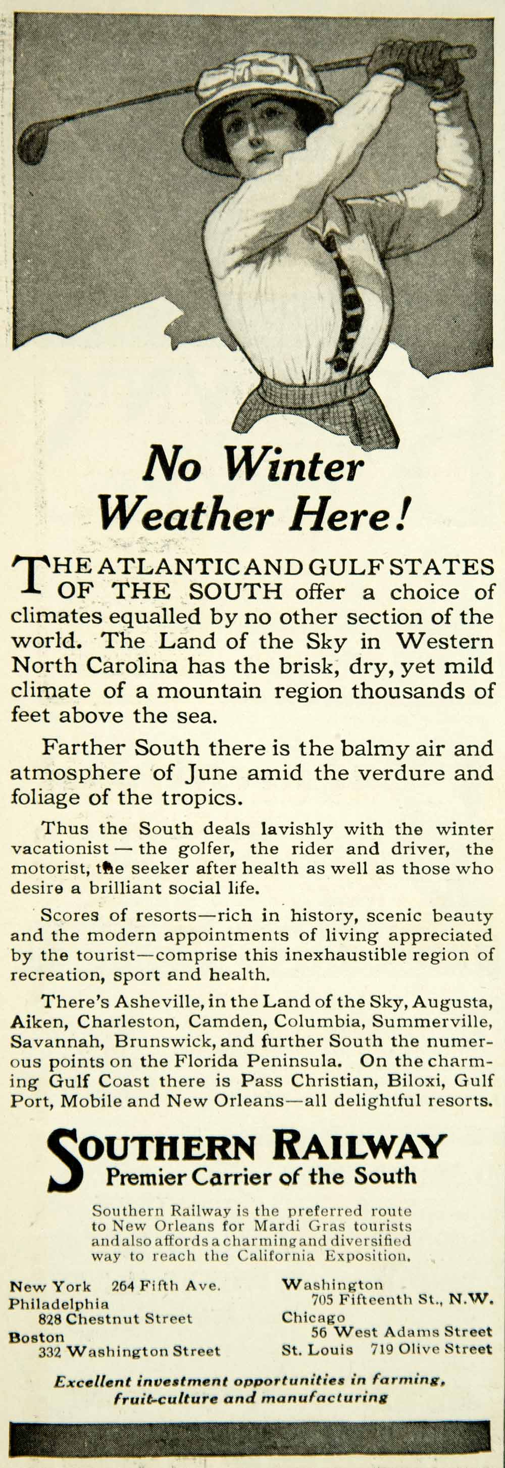 1915 Ad Golf Club Southern Railway Travel Vacation Winter Shot North YMM2