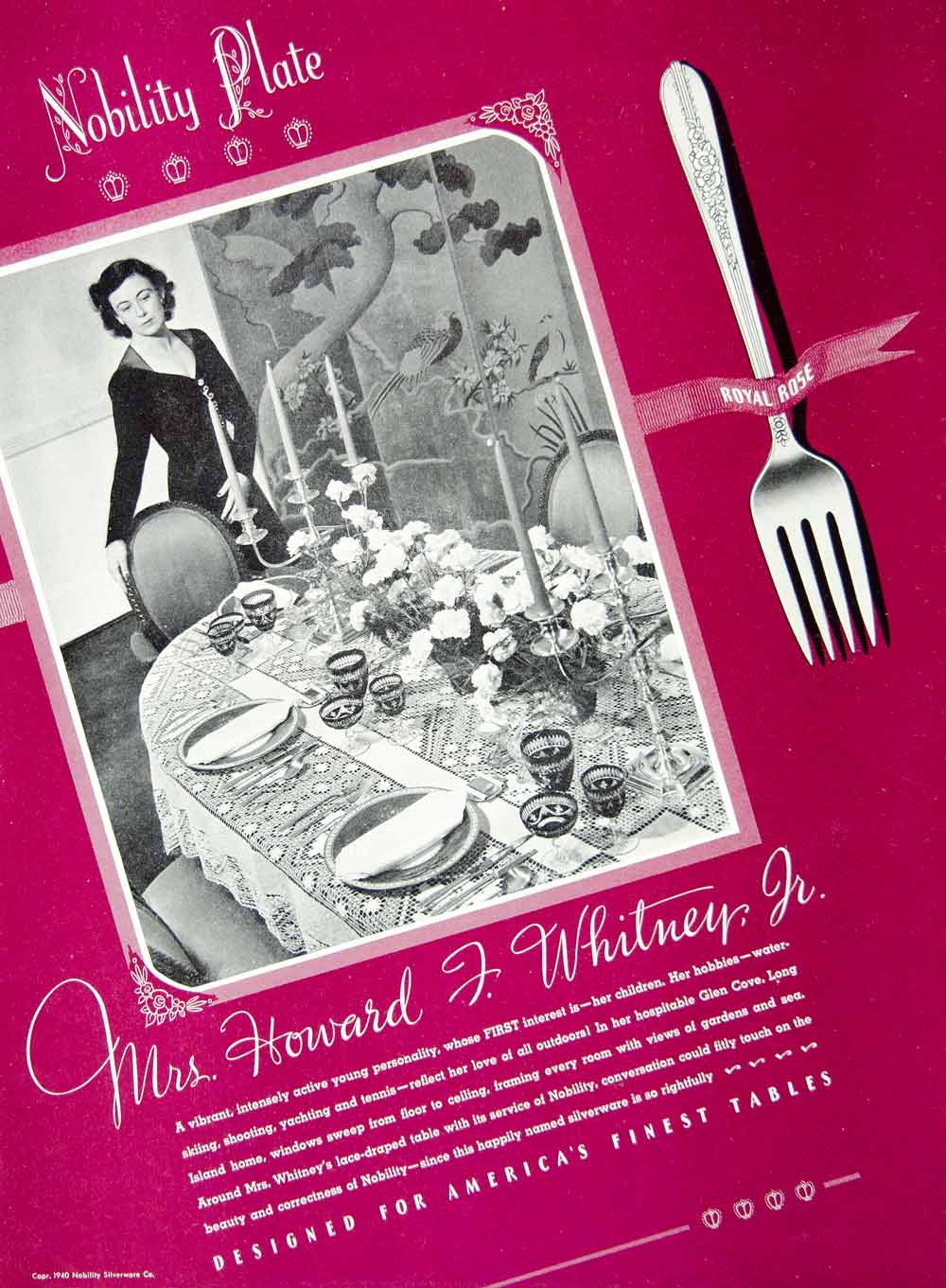 1941 Ad Nobility Plate Silverware Tablewear Mrs Howard J. Whitney Glen Cove YMM3