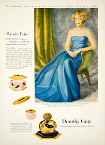 1949 Ad Savoir Faire Perfume Dorothy Gray Gertrude Gretch Astor Walter YMM3