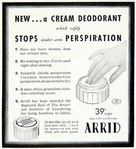 1941 Ad Arrid Cream Deodorant Jar Antiperspirant Perspiration Body Odor YMM3