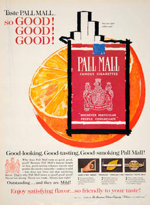 1961 Ad Vintage Pall Mall Famous Cigarettes Pack Orange American Tobacco YMM4