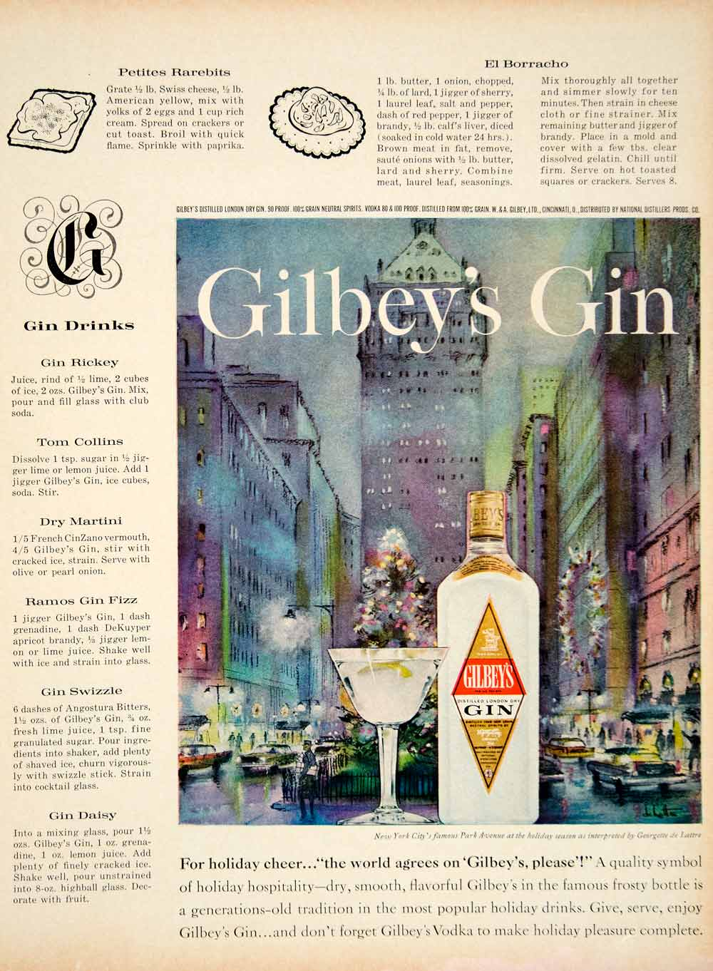 1961 Ad Gilbey's Gin Park Avenue NYC Drinks Martini Rickey Georgette de YMM4