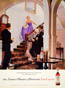 1962 Ad Vintage Lord Calvert American Whiskey Bottle 60s Fashion Alcohol YMM5