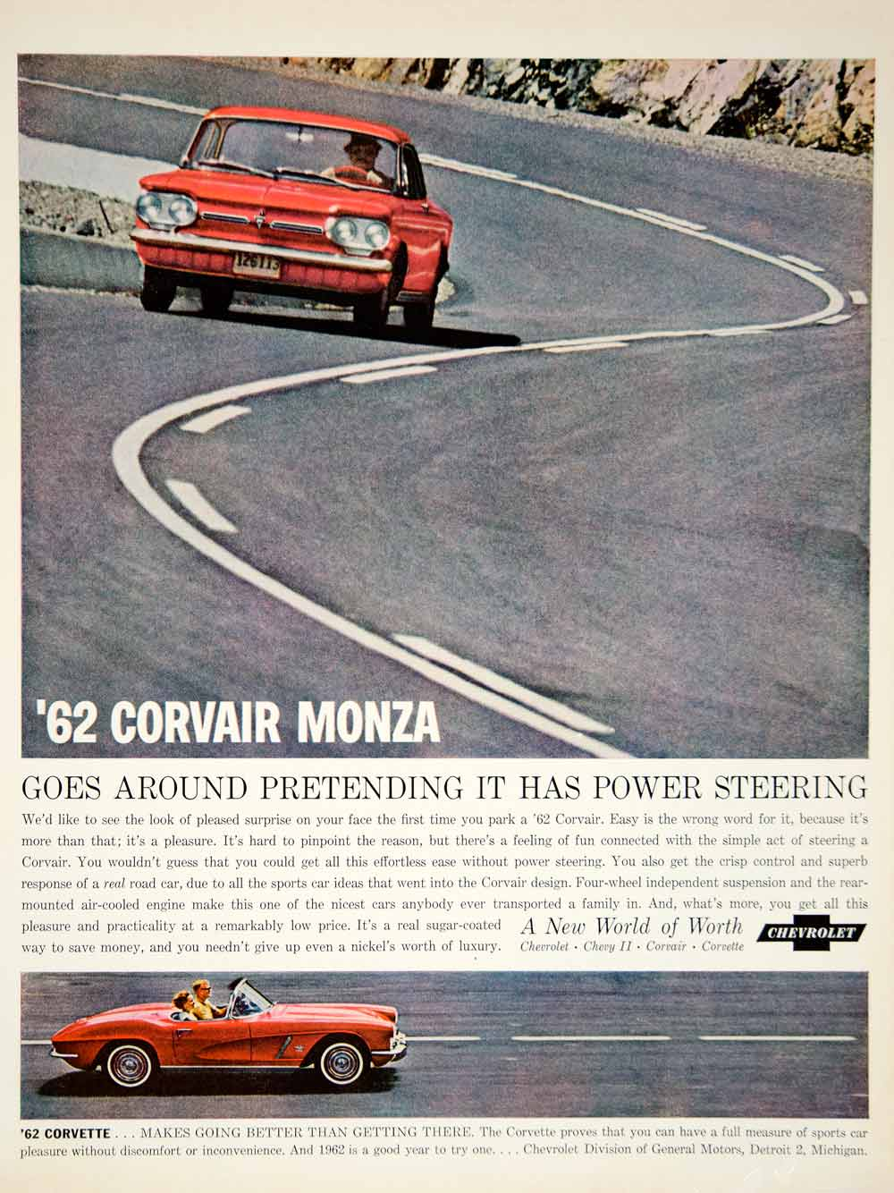 1962 Ad Vintage Chevrolet Corvair Monza Red Convertible Car Automobile YMM5