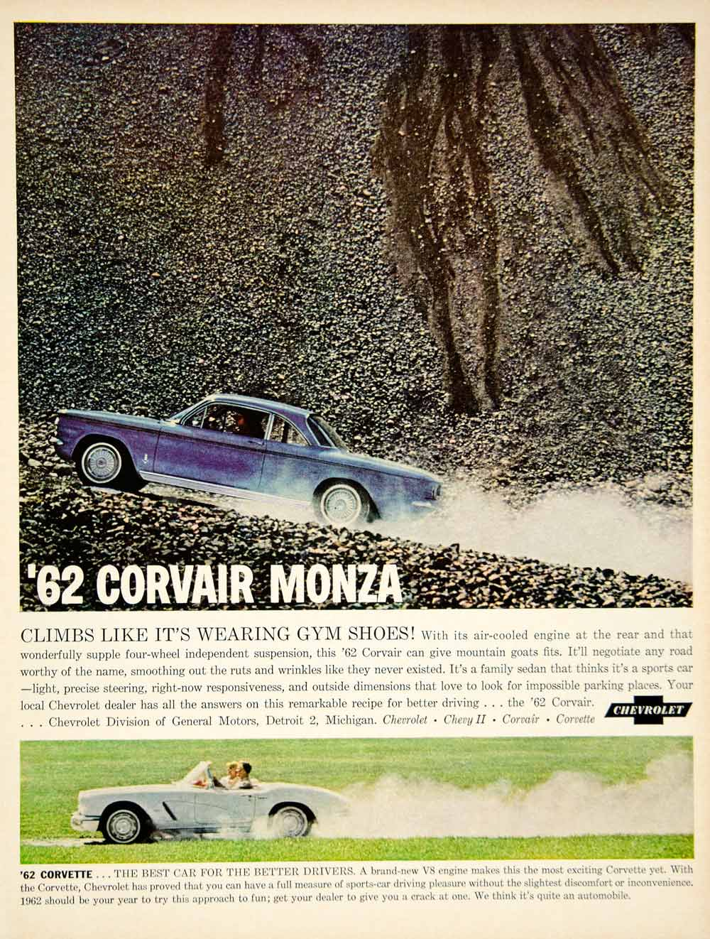 1962 Ad Vintage Chevrolet Corvair Monza Blue Automobile Corvette YMM5