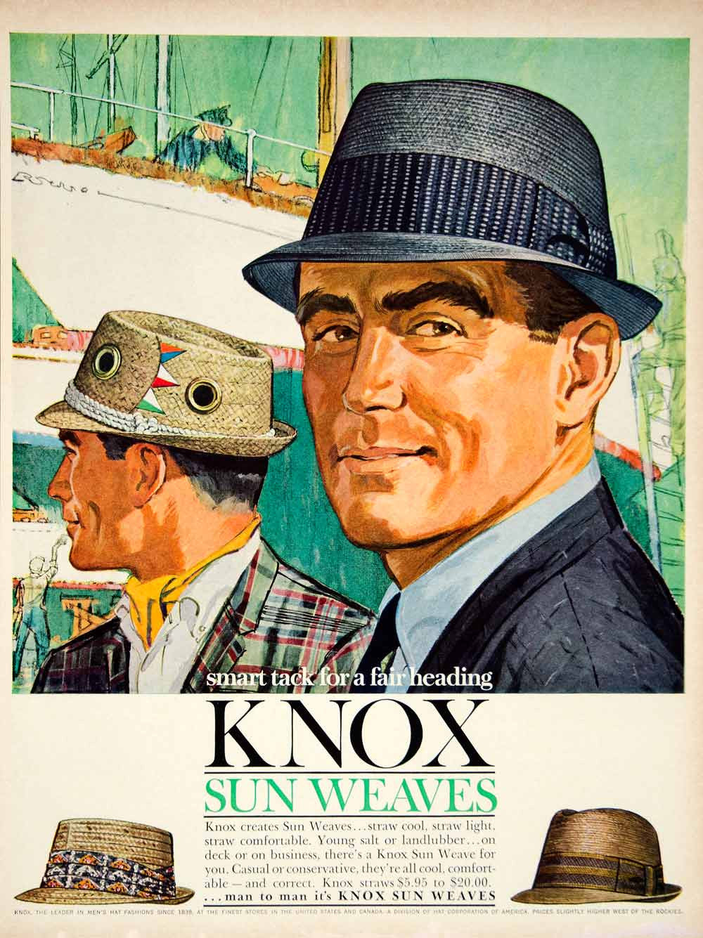 1962 Ad Vintage Knox Sun Weave Summer Hat Fashion Don Draper 60s YMM5 - Period Paper