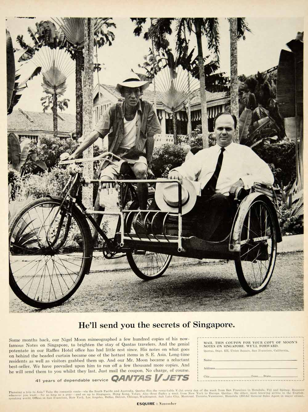 1962 Ad Qantas V Jets Australian Airlines Trishaw Bicycle Singapore Nigel YMM5