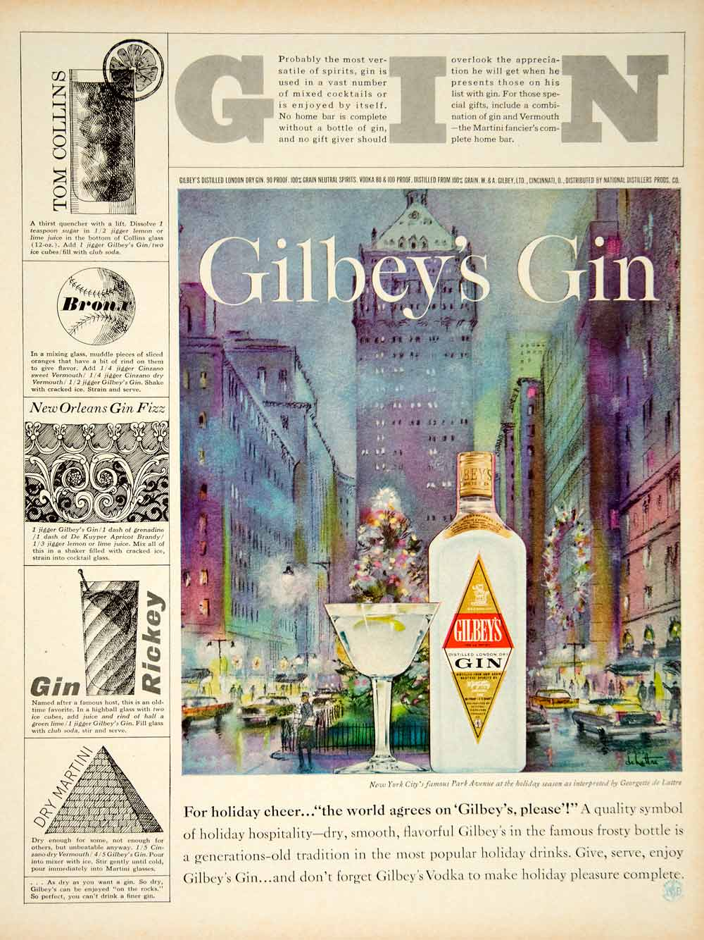 1962 Ad Gilbey's Gin Drink Cocktail Recipes Park Avenue NYC Georgette de YMM5
