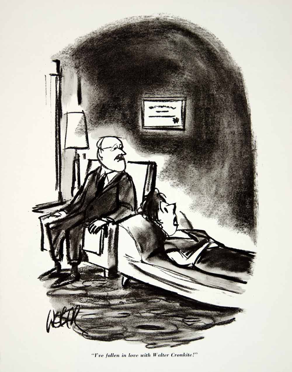 1962 print esquire cartoon walter cronkite woman psychotherapy therapi period paper