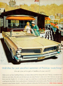 1963 Ad Vintage Pontiac Catalina Wide Track Convertible Automobile Trophy V YMM6