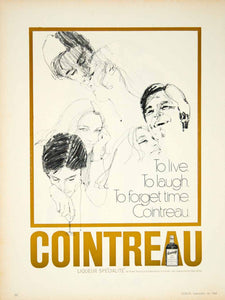 1969 Ad Cointreau French Orange Liqueur Cocktail To Live Laugh Forget Time YMMA1