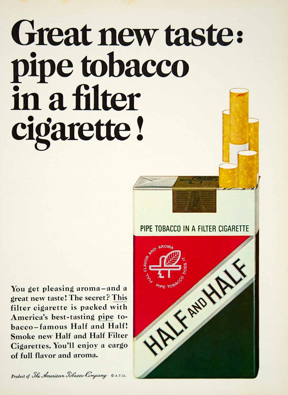 1965 Ad Half and Half Cigarettes Pipe American Tobacco Co. Filter Pack YMMA3