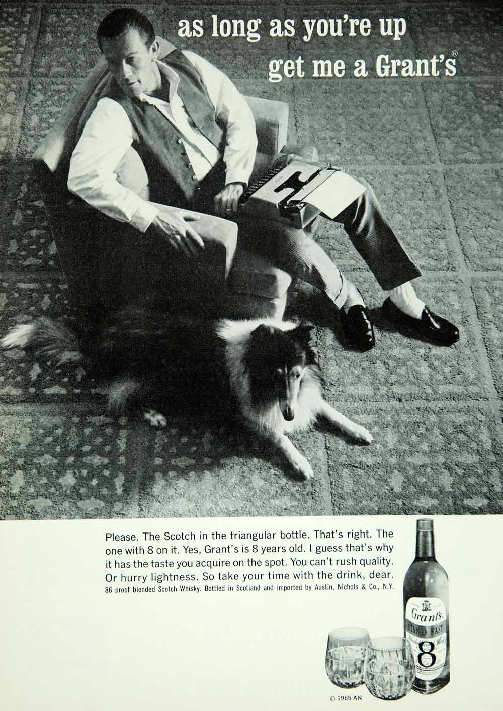 1965 Ad Grant's Blended Scotch Whisky Collie Dog As Long As You're Up Get YMMA3
